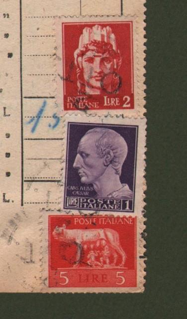 BOLLETTA di spedizione del 5.10.1945 con applicati lire 1 + lire 2 + lire 5 luogotenenza annullati con bollo privato a data.