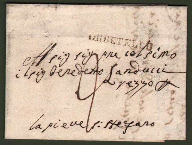 TOSCANA. Lettera del 23 giugno 1844 da Orbetello per Pieve Santo Stefano. In arrivo bollo muto con data di Borgo San Sepolcro.