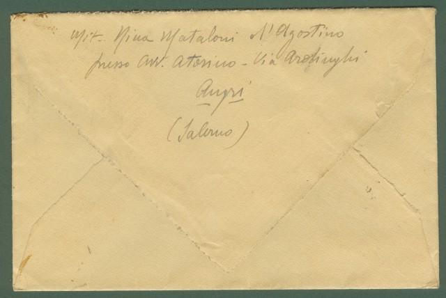 LUOGOTENENZA. VALORI GEMELLI. Lettera raccomandata espresso del 23.1.1946 da Agri (Salerno) a Firenze.