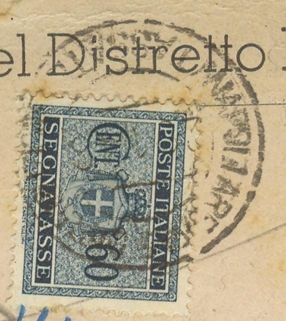 Luogotenenza. TASSA A CARICO. Cartolina del 25 gennaio 1946 interna a Napoli.