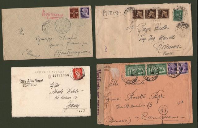 R.S.I.. ESPRESSI. Tre lettere e una cartolina postale del 1944/45.