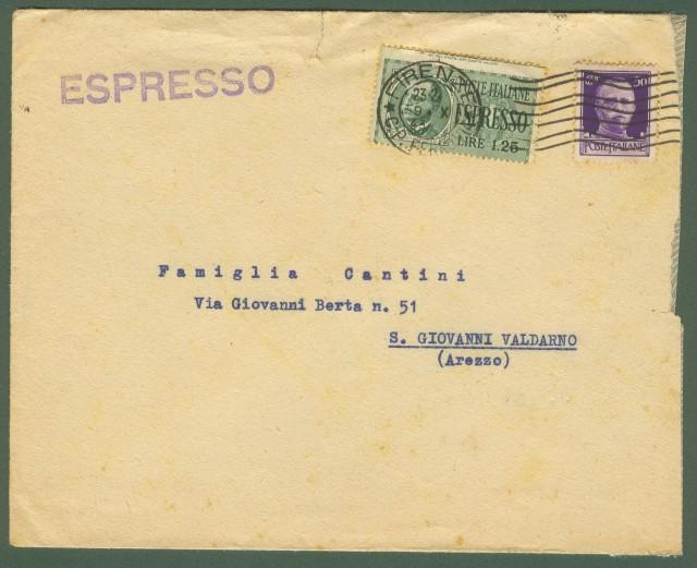 R.S.I. VARIETA'. Espresso del 9.10.1943 da Firenze per S.Giovanni Valdarno (Arezzo).