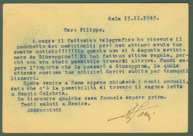 LUOGOTENENZA. CARTOLINA POSTALE da cent. 30 tipo Vinceremo. Da Gela (Caltanissetta) a Roma il 16.11.1945.