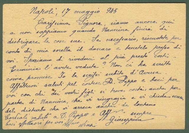 LUOGOTENENZA. CARTOLINA POSTALE da lire 1,20 su cent. 15 verde. Da Napoli a Rocca S. Felice (Avellino) il 20.5.1945.