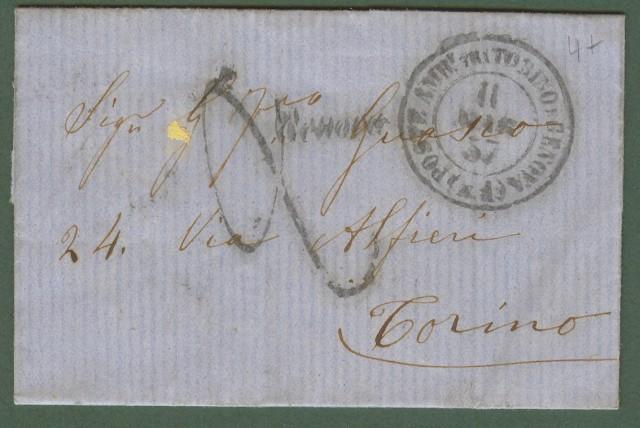 REGNO DI SARDEGNA. Ferrovia. Lettera da Genova per Torino del 11 Marzo 1857