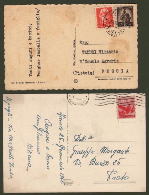 LUOGOTENENZA. Due cartoline affrancate per centesimi 80. Spedite il 25.1.1946 e 29.12.1945.