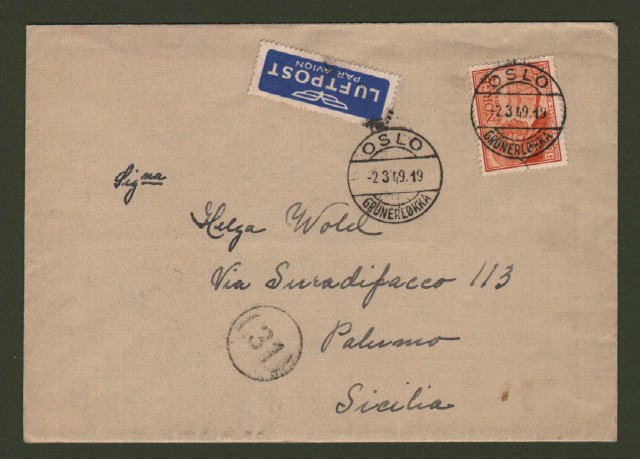 NORGE - NORVEGIA. Air letter 2.3.1949 for Palermo (Italy).