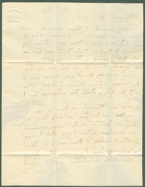 PIEMONTE. BUBBIO doppio cerchio nero. Lettera del 22.6.1850 da Cessole (località a 4 km da Bubbio) a Torino. Al recto i bolli doppio cerchio di Bubbio e di Acqui.