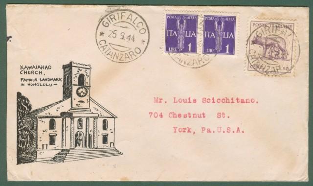 LUOGOTENENZA. Lettera del 25.09.1944 da Girifalco (Catanzaro) per gli U.S.A..