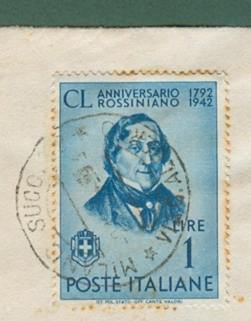 STORIA POSTALE REPUBBLICA SOCIALE ITALIANA. USO TARDIVO. Lettera raccomandata del 02.12.1943 da Milano a Domodossola