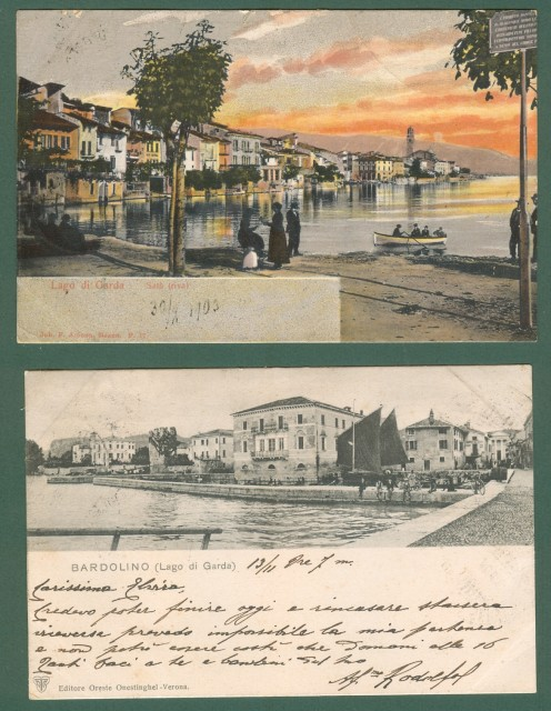 POSTA LACUALE. SERVIZIO POSTALE SUL LAGO DI GARDA.  Due bolli annullatori su altrettante cartoline del 1901 e 1903