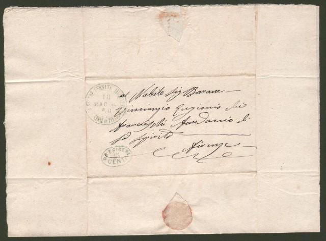 TOSCANA. STRADE FERRATE LIVORNESI. UFFICIO CENTRALE DI PISTOIA. Lettera per Firenze del 18 maggio 1861.