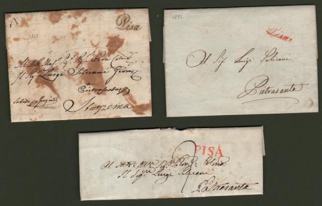 TOSCANA. 3 lettere da Pisa del 1822, 1832 e 1834.