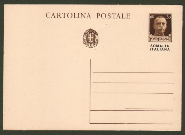 Colonie. SOMALIA ITALIANA. Cartolina postale da cent. 30 bruno tipo imperiale soprastampata.