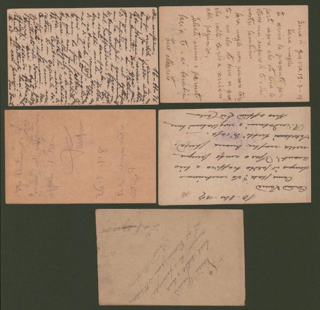Regno. VARIETA' FRANCHIGIA I'° GUERRA. 5 cartoline tutte viaggiate nel 1916 - 1918, con taglio spostato.