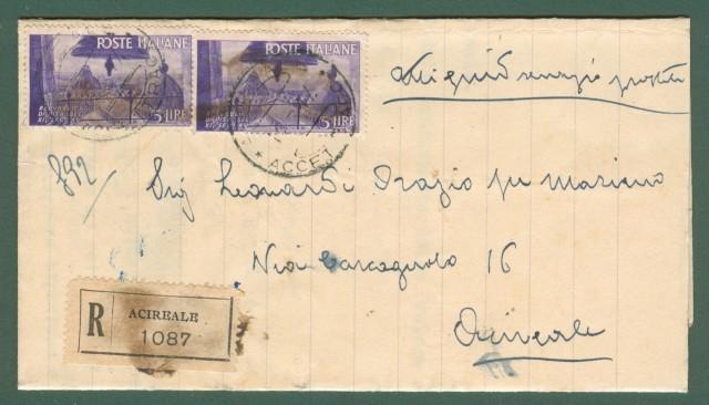 MANOSCRITTO RACCOMANDATO del 12.3.1947 interno ad Acireale.  In tariffa di lire 10.