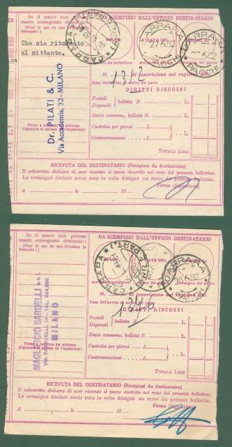 DUE BOLLETTINI DI SPEDIZIONE usati nel 1952, da lire 50 e lire 100.