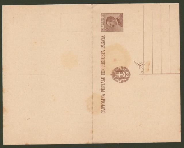 Regno. CARTOLINA POSTALE da cent. 30 + 30 (con risposta pagata) tipo Michetti, senza millesimo.