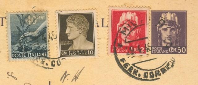 Storia Postale Luogotenenza. CARTOLINA POSTALE da cent. 50 violetto tipo Italia turrita con aggiunti cent. 40 Democratica + cent. 10 e lire 2 luogotenenza