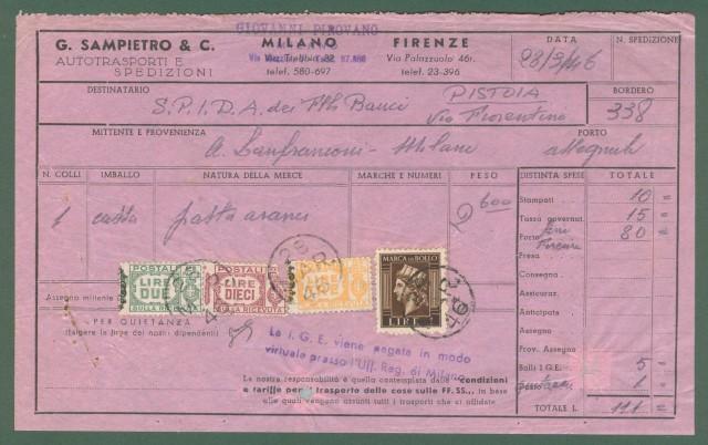 Storia Postale Luogotenenza. BOLLETTA DI CORRIERE del 28.03.1946.