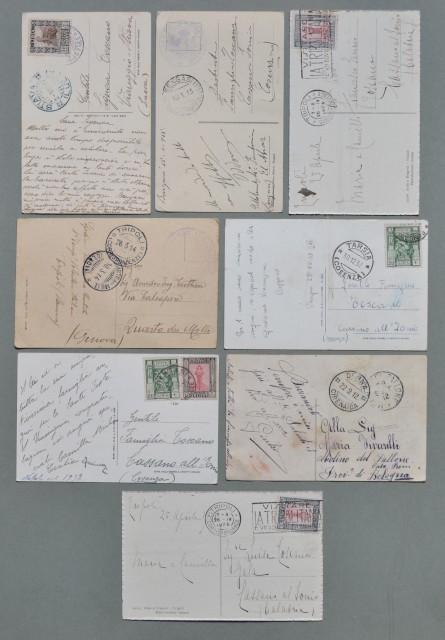 Storia postale colonie. LIBIA. Otto cartoline d'epoca spedite da Derna, Bengasi e Tripoli tra il 1912 e il 1937