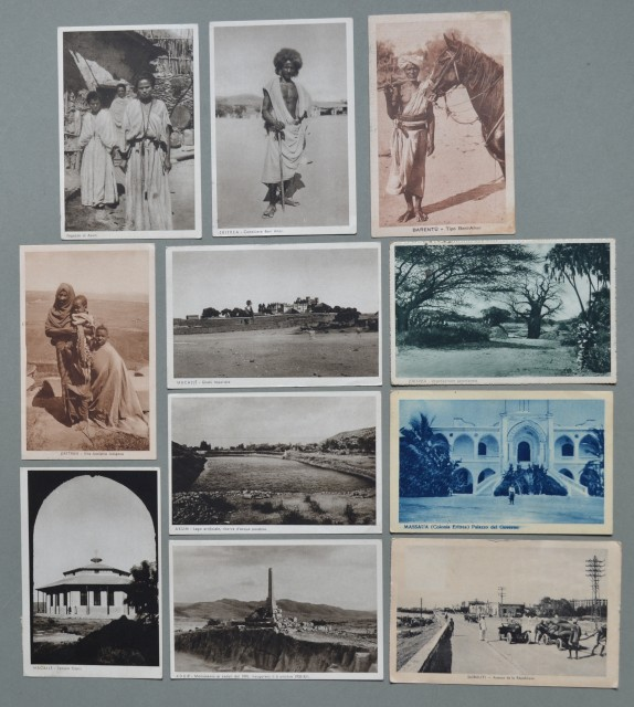 Storia postale colonie. AFRICA ORIENTALE ITALIANA, ERITREA. Undici cartoline d'epoca spedite da Massaua, Senafe, Asmara, ecc.