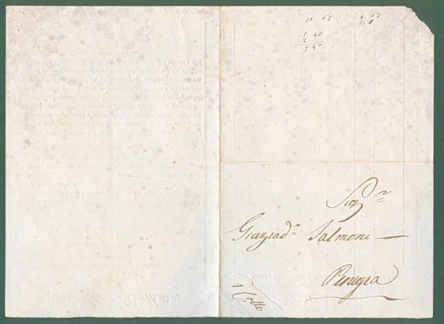 Storia postale Prefilatelia. LETTERA DI CONDOTTA DEL 1 Agosto 1829 da Sinigaglia a Perugia