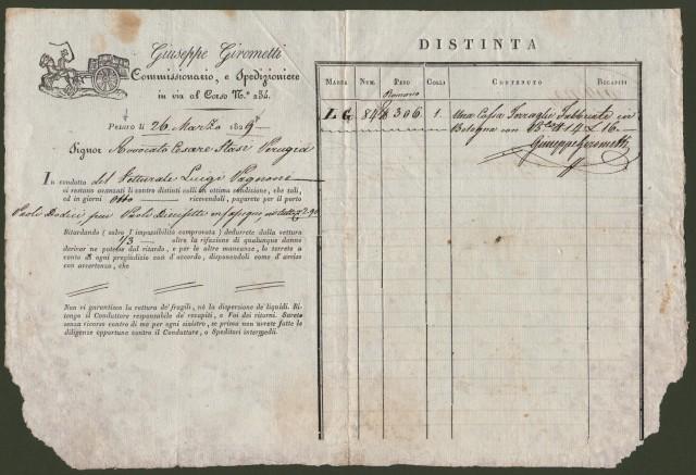 Storia postale Prefilatelia. LETTERA DI CONDOTTA del 26 Marzo 1829 per merci da Pesaro a Perugia.