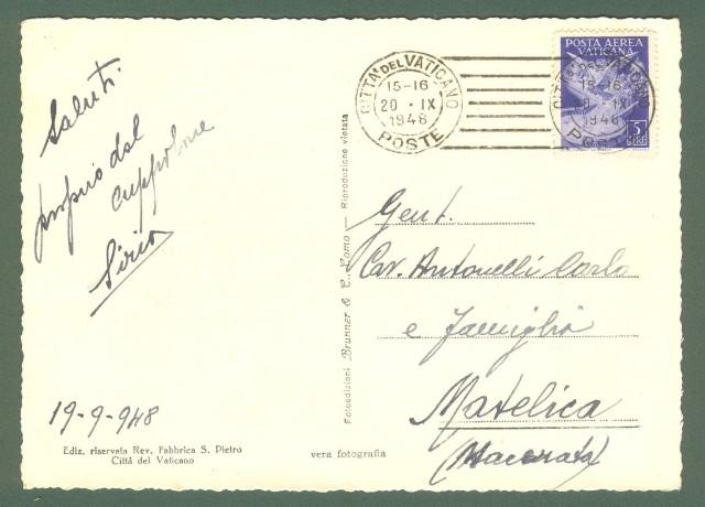 VATICANO. Lire 5 azzurro Posta Aerea isolato (tariffa cartolina solo firma e data). 20.09.1948.