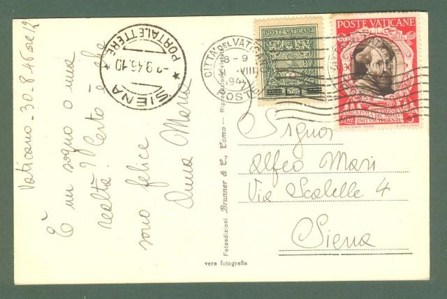 VATICANO. Cartolina del 31.08.1945.