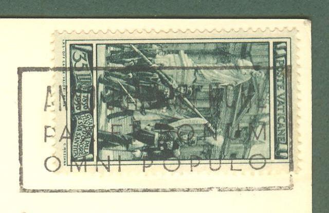 VATICANO. Lire 35 verde serie Guardia Palatina isolato su cartolina per la Svizzera.