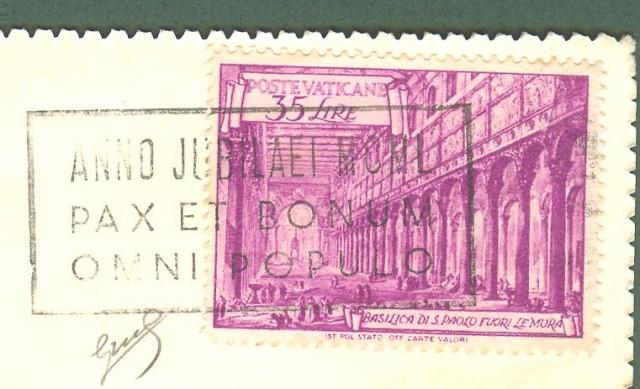 VATICANO. Lire 35 violetto serie Basiliche isolato su cartolina per la Svizzera. Firma Biondi.