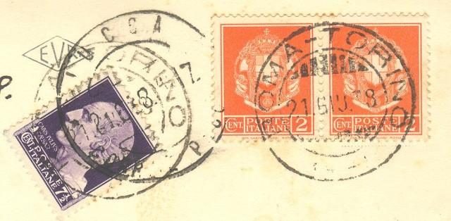 Storia postale Regno. Cartolina del 21.06.1938