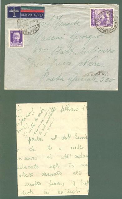 Storia postale Regno. Lettera del 14.02.1939 (guerra di Spagna) indirizzata alla Divisione Frecce Nere.