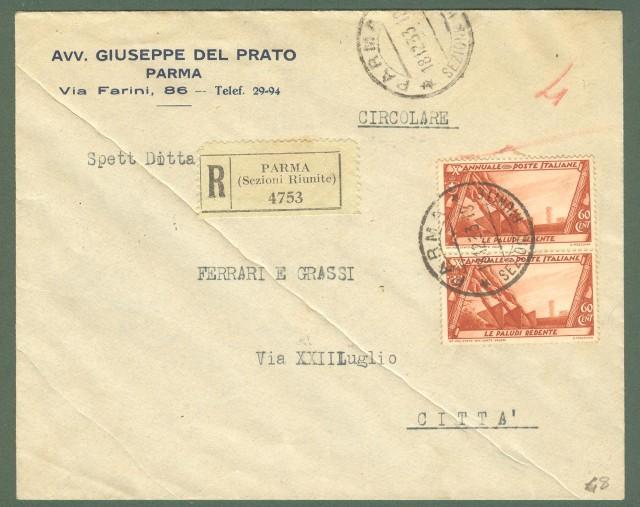 Storia postale Regno. Raccomandata del 18.12.1933 affrancata con coppia cent. 60 serie Decennale.