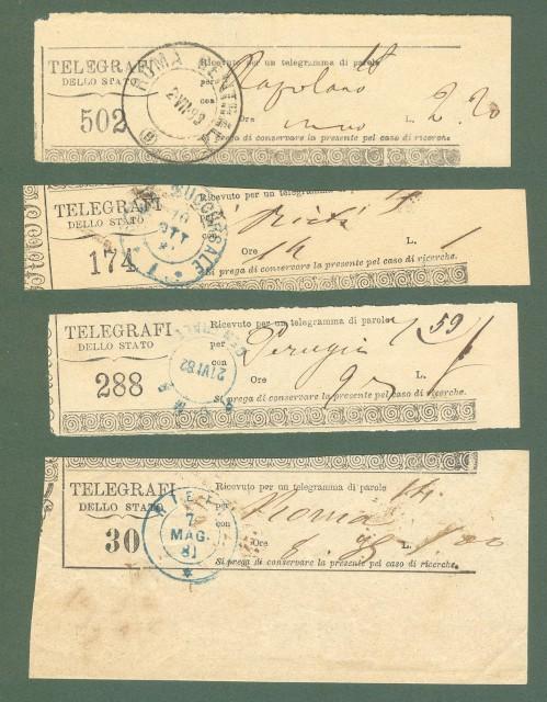 Storia postale regno. Quattro ricevute di telegrammi, 1881/1883.