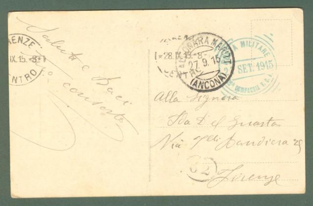 PRIMA GUERRA. POSTA MILITARE 25'° COMPAGNIA V.C.A..Bollo azzurro in gomma del 27.09.1915 su cartolina per Firenze.