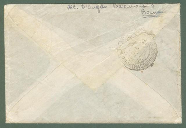 Storia postale ITALIA LUOGOTENENZA. Raccomandata del 15.06.1945 da Roma a Firenze.