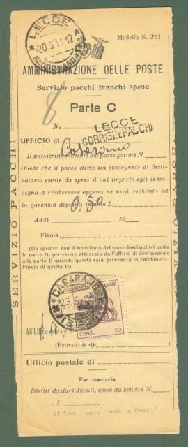 Storia postale ITALIA LUOGOTENENZA. Modulo delle Poste per il servizio pacchi, Lecce 20.05.1944.
