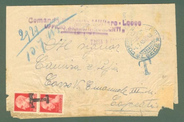 Storia postale ITALIA LUOGOTENENZA. Modulo con tassa a carico del destinatario del 04.07.1945 da Lecce a Copertino (Le).