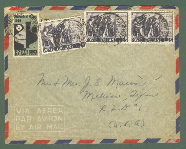 Storia postale REPUBBLICA. Aerogramma del 19.04.1952 da Roma per gli U.S.A..