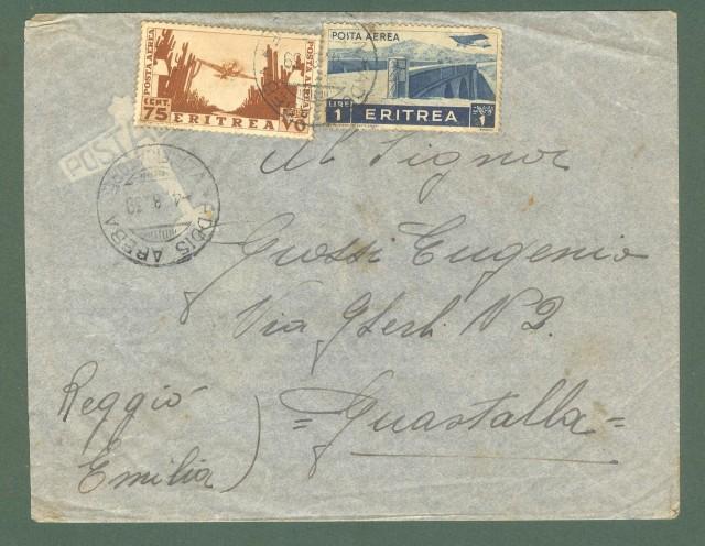 Storia Postale Colonie. ERITREA. ADDIS ABEBA * VERIFICATORE. aerogramma per Guastalla (Reggio Emilia).