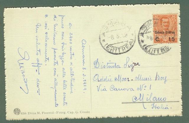 Storia postale Colonie. ERITREA. Cartolina dell' 8.3.1919 da Asmara per Milano.