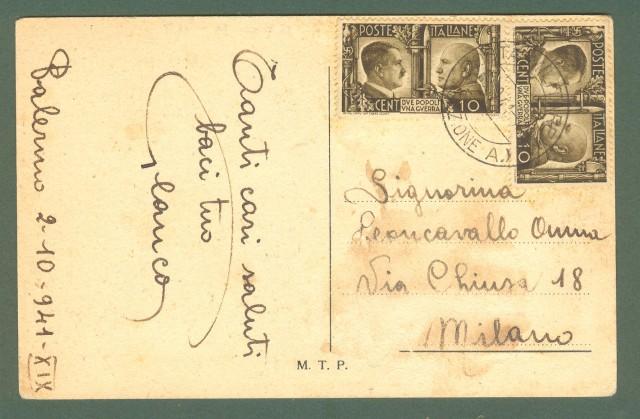 Storia postale Regno. SECONDA GUERRA POSTA MILITARE M (SEZIONE A) su cartolina per Milano del 02.10.1941.