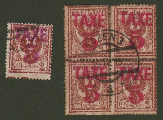 TRENTINO - ALTO ADIGE. Segnatasse provvisori. Anno 1918/19. Francobolli d'Italia da cent. 2 bruno rosso soprastampa in rosso