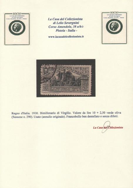Regno d'Italia. 1930. Bimillenario di Virgilio. Valore da lire 10 + 2,50 verde oliva (Sassone n. 290).