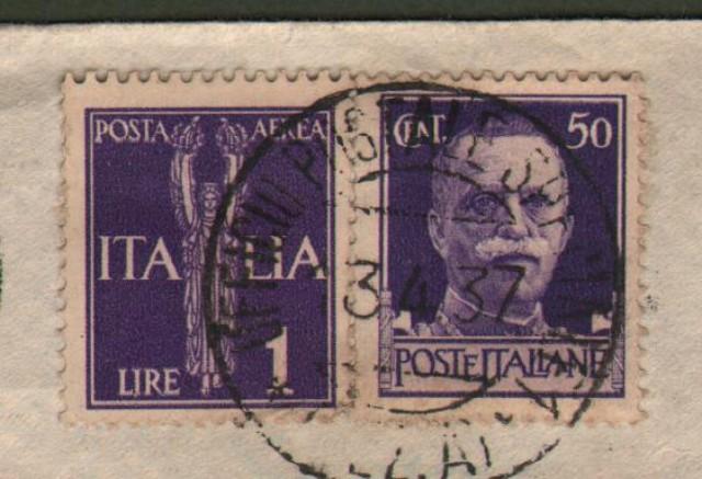 GUERRA DI SPAGNA. UFFICIO POSTALE SPECIALE 1 (SEZ.A) annullatore di cent. 50 e lire 1 posta aerea Imperiale su lettera aerea del 13.4.1937 per Alba (Como).
