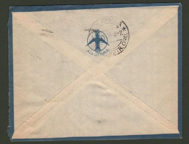 GUERRA D'AFRICA. POSTA MILITARE 12 (SEZIONE A) annullatore di cent. 50 e lire 1 Eritrea su aerogramma del 31.3.1936 per Bologna.