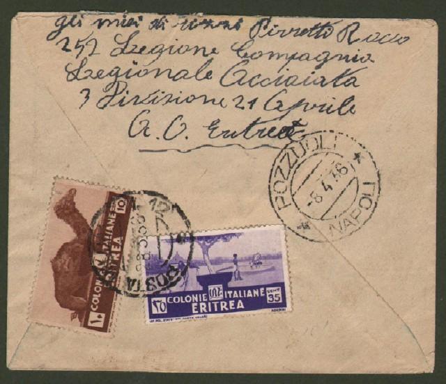 GUERRA D'AFRICA. POSTA MILITARE N. 12 annullatore cent. 10 e cent. 35 Eritrea su lettera per Pozzuoli del 28.3.1936.