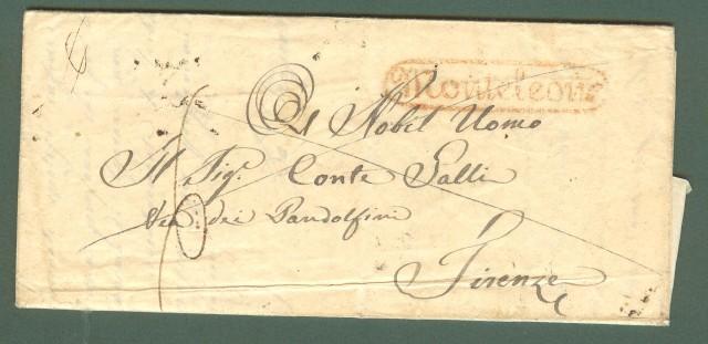Prefilatelia. REGNO NAPOLI - TOSCANA. MONTELEONE in cartella rossa su lettera da Tropea per Firenze del 6 Ottobre 1838.